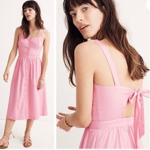 MADEWELL Pink Fleur Bow-Back Dress